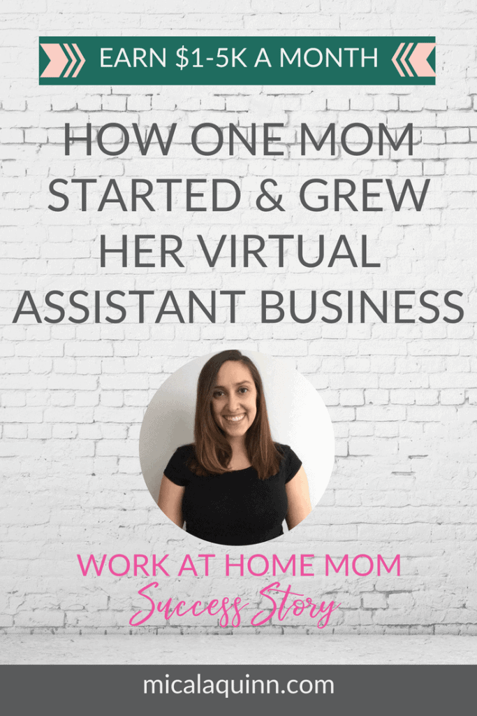 The story how one mom started and grew her virtual assistant business from home with her kids! Work at home mom success story from Lauren. If you are looking for work at home jobs to earn extra money for your family read this story! #wahm #sahm #workingmom #onlinebusiness #virtualassistant